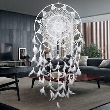 White Large Hoop Handmade Dream Catcher With Feathers Hanging Dreamcatcher Gift