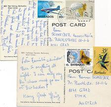 2 Karten aus Barbados nach Graz, Motiv Tiere, Flugzeug   13/4/15