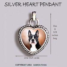 Boston Terrier Dog - Ornate Heart Pendant Tibetan Silver
