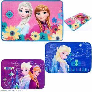 GIRLS CHILDRENS DISNEY FROZEN BEDROOM RUG/MAT PINK PURPLE BLUE ELSA 40X60CM