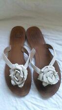 Saks Fifth Avenue Flat Sandals W/RosetteCamellia Off White/Ivory Sandals Sz 8M