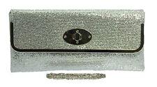 New Silver Metallic Grey Clutch Bags Diamante Wedding Hard Case Lace Pearls