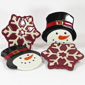 St. Nicholas Square YULETIDE Drink Coaster Set 4 Snowman Snowflake Red White NIB