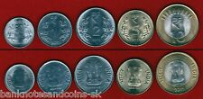 INDIA COMPLETE COIN SET 50 Paise +1+2+5+10 Rupees 2011 UNC UNCIRCULATED LOT of 5