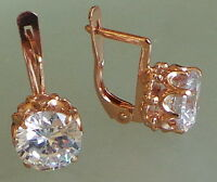 Gold plated Russian  earrings clear crystal 8 mm diameter small tIpical russian