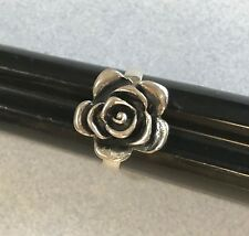 Etched Big ROSE Flower Oxidized Mexican 925 Sterling Silver Taxco Ring Size 8.5