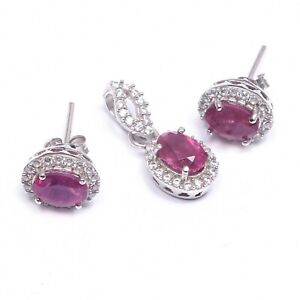 Natural Ruby Halo Earrings Pendant Art Deco Jewelery Set 925 Sterling Silver