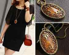 Charm Amber Hollow Rhinestone Long Chain Oval Pendant Necklace Womens Jewelry YY