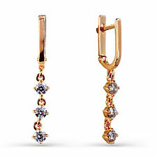 585 Russian Gold Leverback Huggie Drop 14K Rose Gold Earrings Gift Boxed