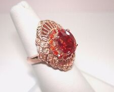 AB 5+Ct Orange Padparadscha Champagne Sapphire Ring Rose Gold .925 Silver 6.5