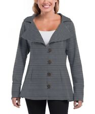 Ladies Blazer Cardigan Size UK 12 Womens Grey Striped Button up #1498
