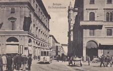 C3486) BOLOGNA, VIA INDIPENDENZA, TRAM, AUTO E FOLLA. VIAGGIATA NEL 1928.