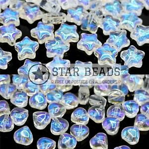 50 X SMOOTH GLASS HEART 6MM / STAR 8MM BEADS CLEAR AB FOR JEWELLERY MAKING