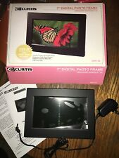 "Curtis 7"" Black Digital Photo Frame New Open Box USA Ship Tested Works Jpeg Pic"