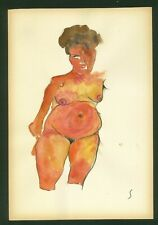 EGON SCHIELE - watercolor on original paper of 10's - Viennese secession!