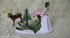 Wedding Reception Party Deer Camo Hunter Hunting Cake Topper Dark Hair Couple