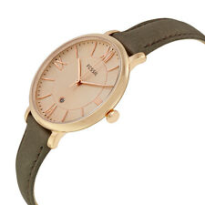 NEW FOSSIL JACQUELINE ROSE GOLD TONE,GRAY LEATHER,ROMAN NUMBERS,WATCH ES3707