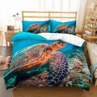 Big Turtle Bottom 3D Quilt Duvet Doona Cover Set Single Double Queen King Print