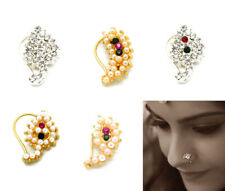 INDIAN DIAMANTE NATH NOSE RING NOSE BRIDAL PARTY HOOP JEWELLERY BOLLYWOOD