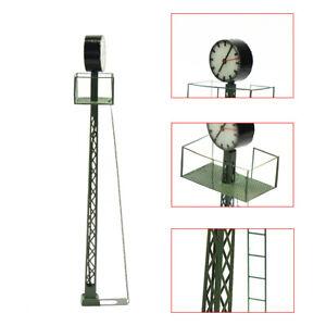 1pc Model Railway Light HO OO Gauge 1:87 Lit Platform Clock on Lattice Mast Lamp