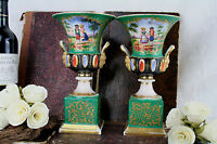PAIR old paris porcelain Romantic scene satyr heads handles vases 1900 French