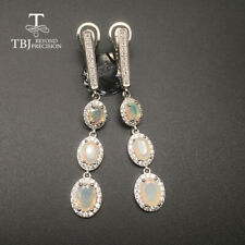 TBJ long earring natural Ethiopian Pear shape opal earring 925 sterling silver