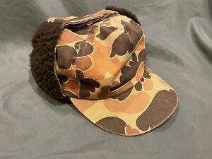 Vtg Columbia Duck Camo Lg Cap w/ Ear Flaps Thinsulate Gore-Tex hat Made In USA