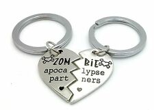 2 PIECE SET ZOMBIE APOCALYPSE PARTNERS FRIENDS KEYRINGS WITH GIFT BAGS