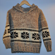 COWICHAN HAND KNIT WOOL WINTER HOODIE PULLOVER Sweater SnowFlakes COAT YOUTH L