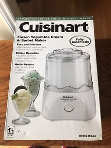 CUISINART 1-1/2 QUART AUTOMATIC ICE CREAM SORBET YOGURT MAKER - NIB - White