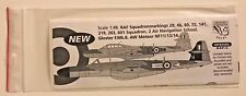 Dutch Decal 1/48 RAF Squadronmarkings 29, 46, 60, 72, 141, 219, 263, 601Special
