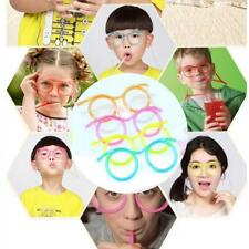Novelty Flexible Soft Glasses Silly Drinking Straw Glasses For Kids Party Fun GA