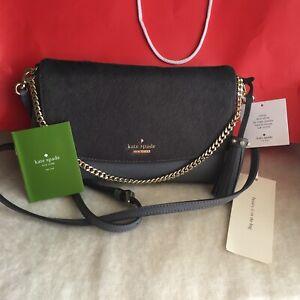 Kate Spade Laurel Way Greer Smoky Pearl Leather Shoulder Crossbody Bag $279 NWT
