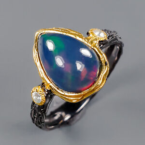 Jewelry Handmade Black Opal Ring Silver 925 Sterling  Size 8.5 /R153234