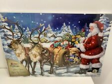 """Father Christmas LIGHT UP LED FIBRE OPTIC CANVAS New & Sealed 16"""" x 23"""" Battery"""
