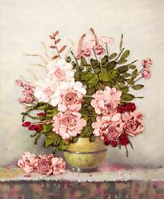 Ribbon Embroidery Kit Floral Flower and Vase Needlework Craft Kit XZ1007