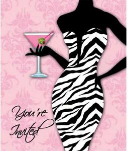 Sassy Sweet Pink Zebra Wedding Bachelorette Party Invitations - Girls Night Out