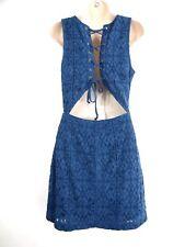 Hollister Womens Juniors Dress 3 Lace Up Open Back Mini Lace Sleeveless Fit
