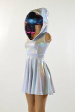 MEDIUM White Flashbulb Holographic Hoodie Galaxy Skater Dress Rave Ready To Ship