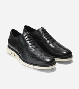 New Cole Haan Men's Zerogrand Wingtip Oxford Shoes Black Leather Size 10
