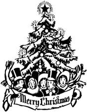 Christmas - Tree - Merry Christmas Unmounted Clear Stamp Approx 58x75mm