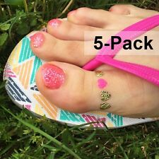 Toe Rign Temporary Tattoos in Metallic Gold and Pink Color for Summer 5 Pack
