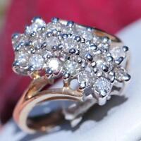 10k yellow gold ring 1.25ct natural diamond sz 6.5 vintage handmade 4.1gr Gab152