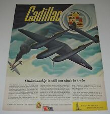 Print Ad 1943 CADILLAC WWll Battle ART by John Vickery P-38 Fighter Plane Combat