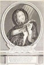 Estampe gravure engraving Portrait Dame Marie Herinx, suite de Desrochers