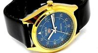 SEIKO5 AUTOMATIC MEN,S  GOLD PLATED VINTAGE BLUE  DIAL JAPAN  WATCH RUN ORDER,,