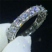 3Ct Cushion Cut D/VVS1 Diamond Eternity Wedding Band Ring 14K White Gold Finish