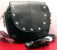 Studded Hip Belt Loop Purse Leather Black New Convertible Shoulder Strap