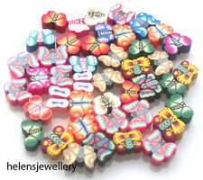 NEW 50 MIXED FIMO POLYMER BUTTERFLY BEADS - ALL VARIETIES - QUICK SHIPMENT