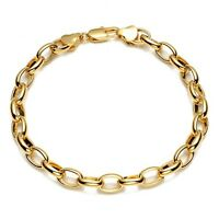"Men/Women Bracelet 18K Yellow Gold Filled Charms Chain 8"" ring Link Jewelry"